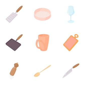 Utensils for eating set, cartoon style