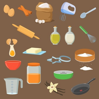 Utensils and ingredients for dessert illustrations set
