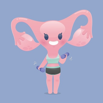 Мультфильм матки в спортивной одежде упражняется, поднимая гантели. милый здоровый сильный. плоская иллюстрация персонажа