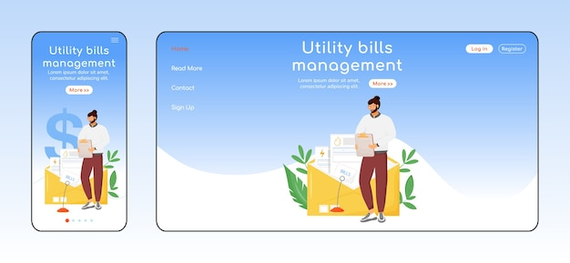 Плоский цветной шаблон адаптивной целевой страницы для управления счетами за коммунальные услуги. макет домашней страницы для мобильных устройств и пк. утилита сервис одностраничный интерфейс сайта. кросс-платформенный дизайн веб-страницы с регулярными расходами