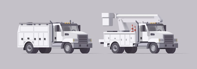 Набор служебных грузовиков. изолированная воздушная автовышка. сборщик вишни. грузовик с закрытым кузовом. коллекция