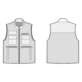 Utility vest fashion flats template