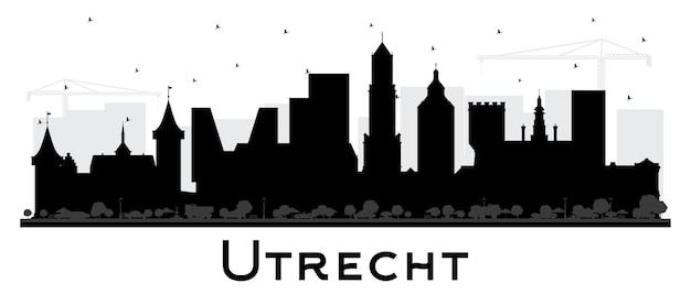 흰색 절연 검은 건물 위트레흐트 네덜란드 도시 스카이 라인 실루엣. 역사적인 건축과 비즈니스 여행 및 관광 개념입니다. 랜드마크가 있는 위트레흐트 도시 풍경.