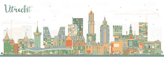 색상 건물이 있는 위트레흐트 네덜란드 도시의 스카이라인. 역사적인 건축과 비즈니스 여행 및 관광 개념입니다. 랜드마크가 있는 위트레흐트 도시 풍경.
