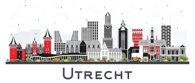 흰색 절연 색상 건물 위트레흐트 네덜란드 도시의 스카이 라인