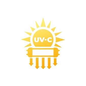 태양과 램프가있는 소독 아이콘 용 uv-c 조명