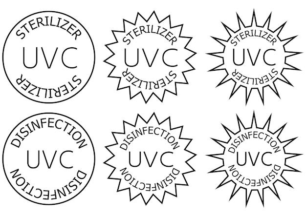 Uv-c 살균기 및 소독 스탬프. 위생 장치 정보 기호입니다. 라운드 배지. 항균 uvc 조명 위생. 표면 청소 배지. 벡터 일러스트 레이 션