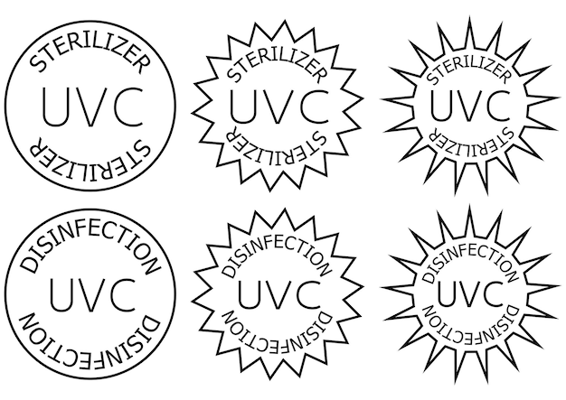 Uv-c sterilizer and disinfection stamp. sanitation device information sign. round badges. antimicrobial uvc light sanitation. surface cleaning badges. vector illustration