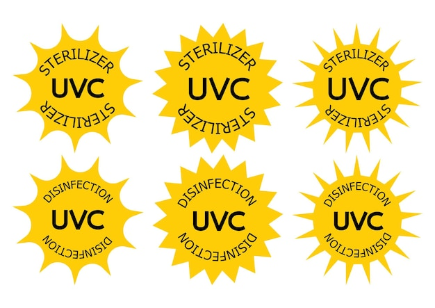 Uv-c sterilizer and disinfection stamp. sanitation device information sign. uv radiation, solar ultraviolet icons. antimicrobial uvc light sanitation. surface cleaning badges. vector illustration
