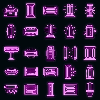 Uv lamp icons set. outline set of uv lamp vector icons neon color on black