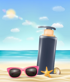 Uv protection cream tube with sun glasses  on  beach