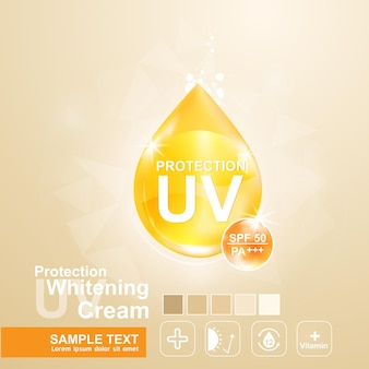 Uv protection logo cosmetic products for banner or poster template.