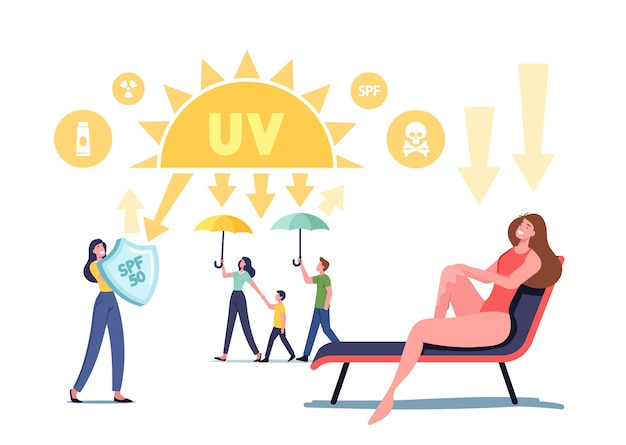 Uv 방사선 태양 자외선 보호 개념입니다. 방패가 있는 캐릭터는 햇빛을 반사하고, 우산을 들고 가족 산책을 하고, 긴 의자에 탄 여성, 피부 건강 관리. 만화 사람들 벡터 일러스트 레이 션