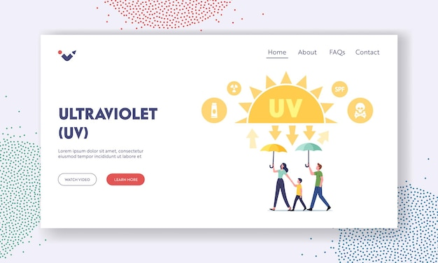 Uv radiation, solar ultraviolet protection landing page template. family characters walking with umbrella under sunlight beams protecting skin, health care. cartoon people vector illustration