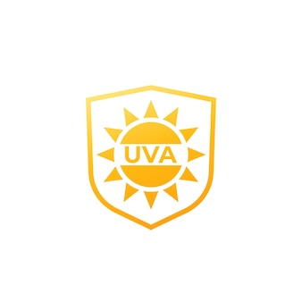 Uva protection icon, sun and shield vector