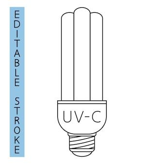 Uvc 빛 소독 아이콘입니다. 공기 및 표면의 자외선 살균. 살균 램프. 표면 청소, 의료 오염 제거 절차. 자외선 램프. 벡터