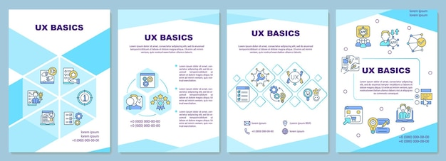 Ux 기본 브로셔 템플릿입니다. 제품에 대한 사용자 경험에 중점을 둡니다. 전단지, 소책자, 전단지 인쇄, 선형 아이콘이 있는 표지 디자인. 프레젠테이션, 연례 보고서, 광고 페이지용 벡터 레이아웃