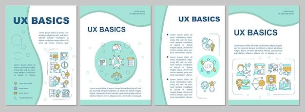 Ux 기본 브로셔 템플릿입니다. 사용자 능력, 한계를 식별합니다. 전단지, 소책자, 전단지 인쇄, 선형 아이콘이 있는 표지 디자인. 프레젠테이션, 연례 보고서, 광고 페이지용 벡터 레이아웃