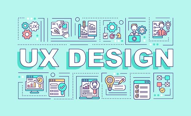 Uxデザインワードコンセプトバナー。ユーザーフレンドリーなインターフェースの作成。ミントの背景に線形アイコンとインフォグラフィック。孤立した創造的なタイポグラフィ。テキストとベクトルアウトラインカラーイラスト