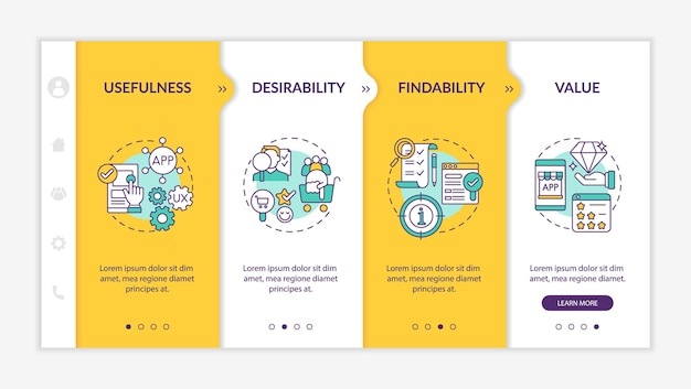 Ux elements onboarding vector template. responsive mobile website with icons. web page walkthrough 4 step screens. desirability and findability factors color concept with linear illustrations