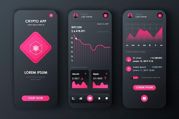 Криптовалюта уникальный неоморфный набор для приложения. биткойн-экраны майнинга с графиками и финансовой аналитикой. криптовалюта, торговая платформа, пользовательский интерфейс, шаблоны ux. gui для отзывчивого мобильного приложения