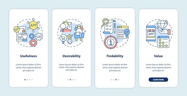 モバイルアプリのページ画面にオンボーディングするuxの原則。有用性、望ましさのウォークスルー概念を備えた4ステップのグラフィック命令。線形カラーイラストとui、ux、guiベクトルテンプレート