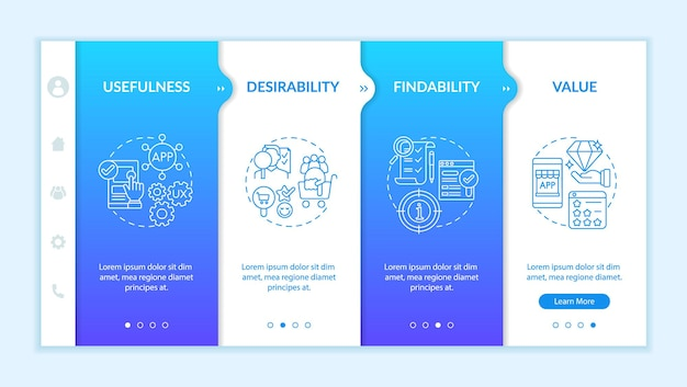 Ux principles onboarding vector template. responsive mobile website with icons. web page walkthrough 4 step screens. usefulness and value perspectives color concept with linear illustrations