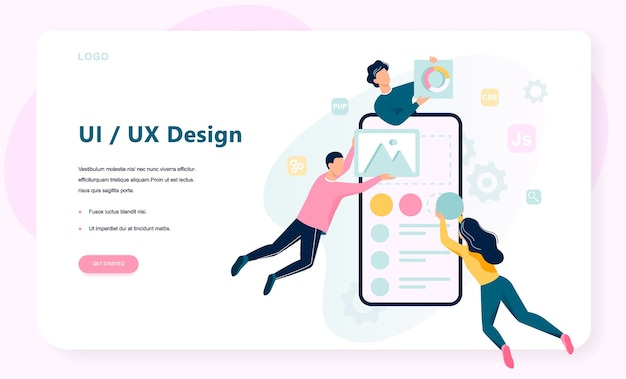 Ux ui . app interface improvement for user. modern technology concept.   illustration in  style