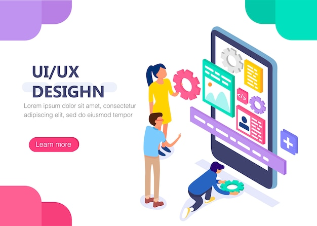 Ux / ui design concept with character