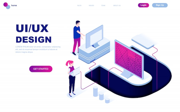 Современный плоский дизайн изометрической концепции ux, ui design