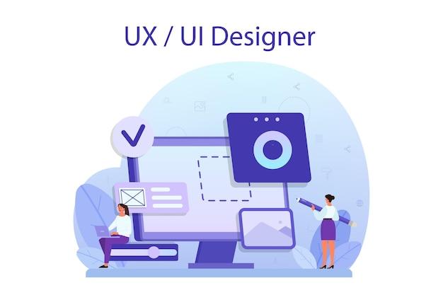Uxuiデザイナーのコンセプト。ユーザー向けのアプリインターフェースの改善。現代の技術コンセプト。フラットベクトル図