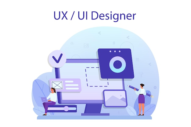 Ux ui designer concept. app interface improvement for user. modern technology concept. flat vector illustration
