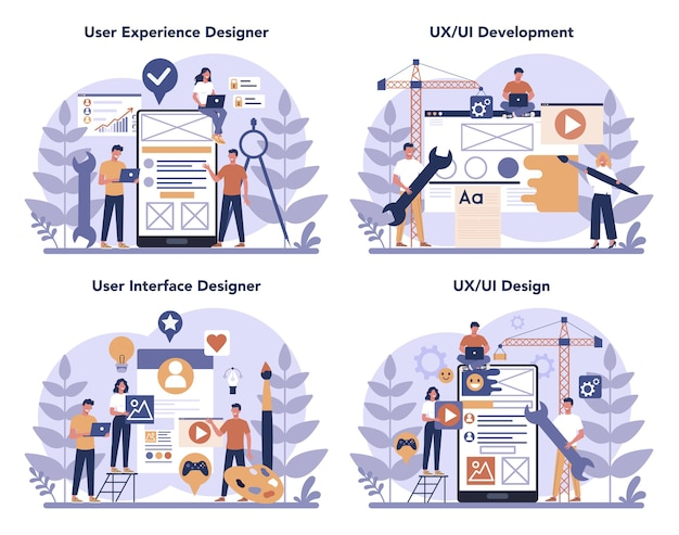 Набор концепций дизайнера пользовательского интерфейса ux. улучшение интерфейса приложения для пользователя. концепция современной технологии. плоские векторные иллюстрации