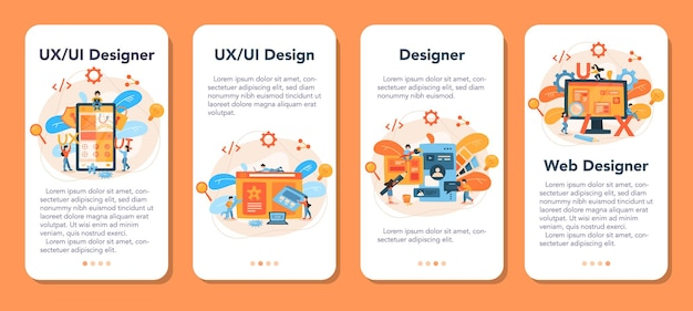 Uxuiデザイナーモバイルアプリケーションバナーセット。ユーザー向けのアプリインターフェースの改善。現代の技術コンセプト。