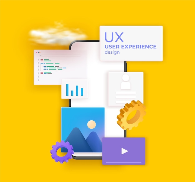 Ux ui flowchart. mobile application concept