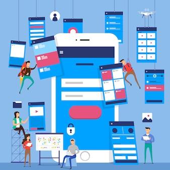 Ux ui 순서도. s 모바일 애플리케이션 개념. 삽화