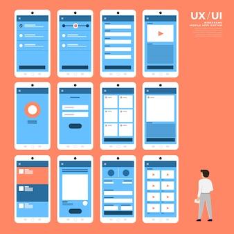 Блок-схема ux ui. концепция мобильного приложения. иллюстрация