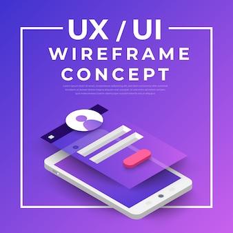 Блок-схема ux ui. концепция мобильного приложения s изометрии. иллюстрация.