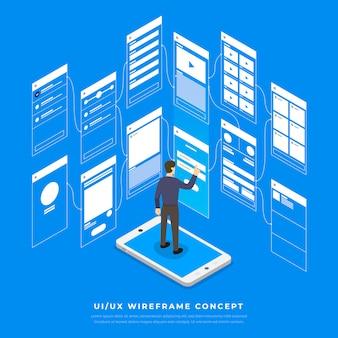 Ux ui 순서도. s 모바일 애플리케이션 개념 아이소 메트릭. 삽화.