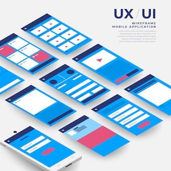 Ux uiフローチャート。 sモバイルアプリケーションの概念等尺性。図。
