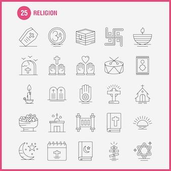 Набор иконок линии религии для инфографики, мобильный ux / ui kit