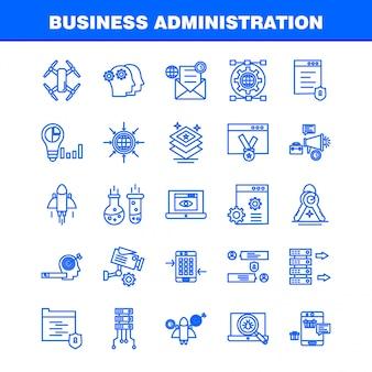 Набор иконок линии бизнес-администрирования для инфографики, мобильный ux / ui kit