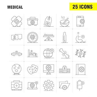 Набор иконок медицинской линии для инфографики, мобильный ux / ui kit