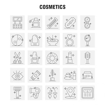 Набор иконок косметики линии для инфографики, мобильный ux / ui kit