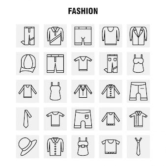 Набор иконок линии моды для инфографики, ux / ui kit для мобильных устройств