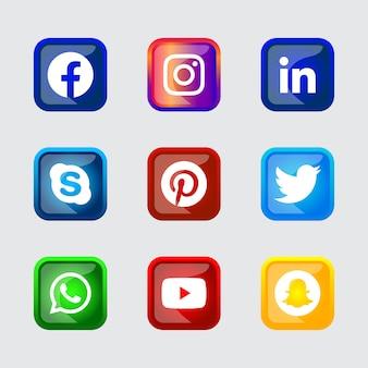 正方形の光沢のあるシルバーフレームソーシャルメディアアイコンボタングラデーション効果をux uiオンライン使用用に設定