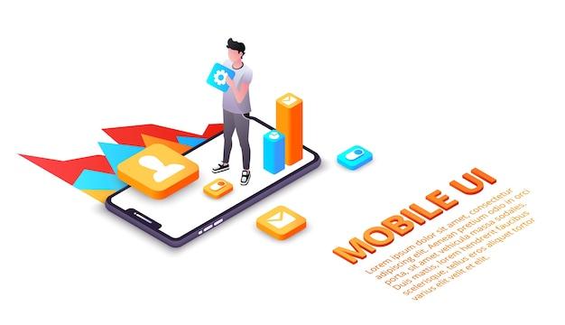 ディスプレイ上のスマートフォンユーザーインターフェイスまたはuxアプリケーションのモバイルui図