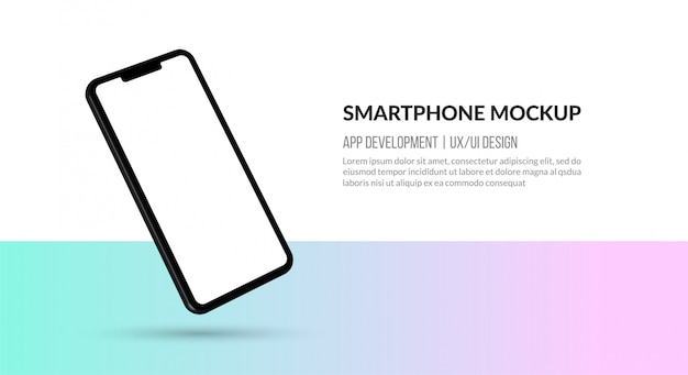 空白の画面、アプリ開発用テンプレート、ux / uiデザインを備えたスマートフォンモックアップ