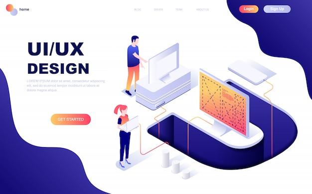 Ux、uiデザインのモダンなフラットデザイン等尺性概念