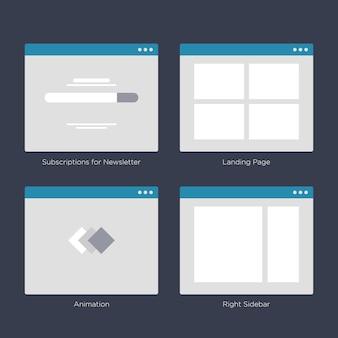 サイトマップとuxデザイン用のwebサイトのワイヤフレームレイアウトuiキット